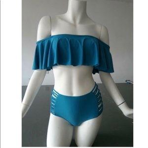 Other - SOLD! Gorgeous off shoulder Teal Bikini high waste